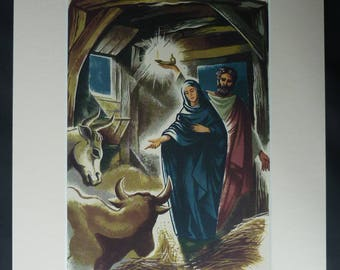 1940s Antique John Mansbridge Print, Available Framed, Nativity Art, Christmas Wall Art, Xmas Picture, Joseph and Mary Gift Cowshed Wall Art