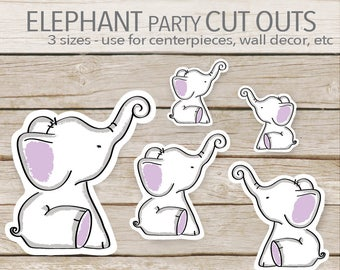 Purple Elephant Party Decoration - Instant Printable Download - Elephant Cut Outs - Elephant Baby Shower cut outs - toppers - 3 sizes