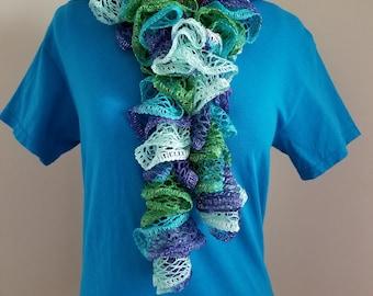 Ruffled, scarf, blue, green, lovely, flowy, handmade, silver, ruffle scarf, new