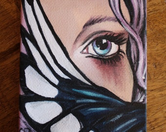 tiny lovers eye original painting with magpie wing, lowbrow steampunk art
