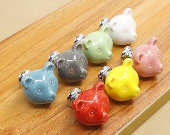 Bear Ceramic Knobs /Dresser Knob Drawer Pulls Handles / Ceramic Knob / Cabinet  Knobs / Kitchen Door Knob Furniture Hardware (XMHRJ059)