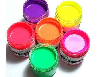 Handmade Gouache Neon Paint Set of brightly and very intense colored paints for art and craft by Wizart Colors