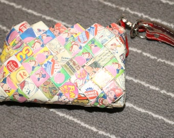 Bubble-Gum Wrapper (1989) Vintage Upcycled Pouch Coin Bag Custom-Made Prison Art Origami Chain