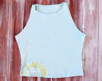 Sun Crop Top-Yoga Top-Hipster Crop Top-Simple Crop Top-Yoga Clothing