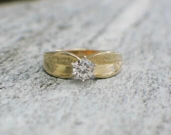 Vintage 14K Solitaire Diamond Engagement Ring