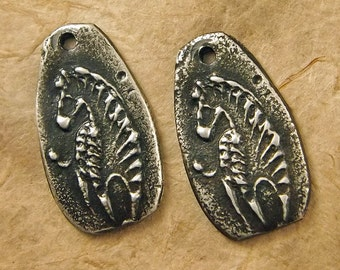 Zebra - Hand Cast Rustic Pewter Jewelry Components - Animal Charms