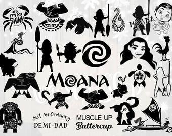 Moana svg bundle, disney's moana svg cut files, Moana silhouette svg bundle, moana clipart, moana dxf, cut files for cricut silhouette