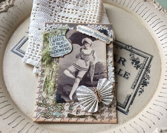 Vintage Beach Lady Card - Old Fashioned Beach Bloomers Card - Best Handmade Cards