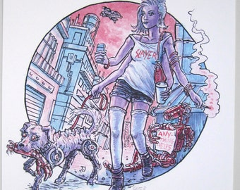 Dystopian Dog Walker — giclée print