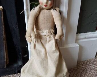 Vintage doll - old handmade boudoir doll rag doll stuffed with wood shavings - fabric faced doll - primitive OOAK