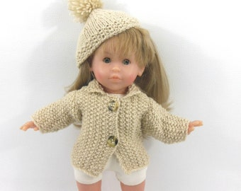Doll clothes - jacket and hat beige