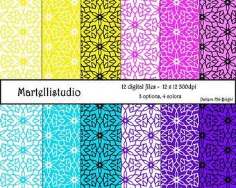 Digital paper with flower pattern