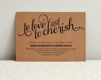 Romantic Script / DIY Kraft Paper Wedding Invitation / DIY Printable PDF Template / Digital Download