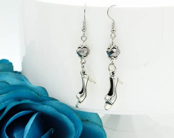 Princess Shoe Dangle Earrings with Silver Crystal Beads