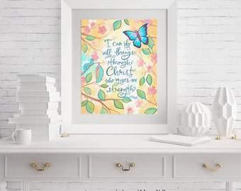 I Can Do All Things Through Christ Scripture Wall Art Girl's Room Print