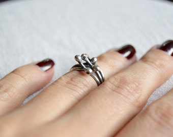 IVY SİLVER RİNG, silver knuckle ring, knuckle oxidized ring, silver smith knuckle ring, silver midi ring, gift for her,free shipping jewelry
