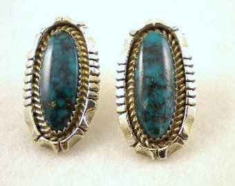 925 Silver Turquoise Post Earrings Emerson Thompson Navajo