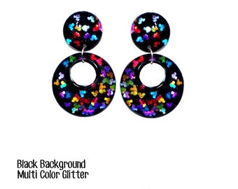 Retro Mickey Confetti Hoop Earrings - Disney Inspired, Classic, Pinup Rockablilly Doll, Vintage Inspired