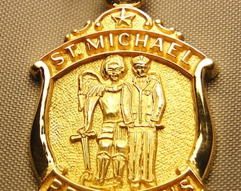 St michael medal 14k white gold archangel pendant necklace st michael medal 14k gold archangel patron saint of police and peace keepers aloadofball Gallery