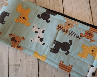 Dog Diaper Belly Band, Tossed Puppy Dog Fabric, Personalized, FAST Shipping