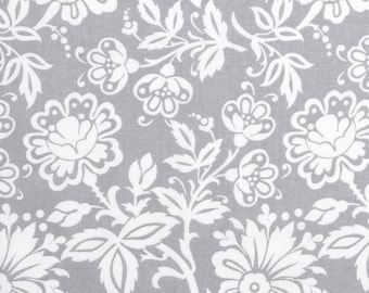 1-5/6 yards Kimberly Small Floral Gray Cotton Fabric, Blossoming Flowers on Light Gray Background, Cotton Sewing Fabric, Quilting Material
