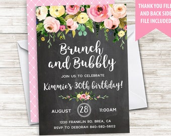 Brunch Birthday Invite Invitation Bubbly Chalkboard Adult 5x7 Watercolor Floral Digital Personalized