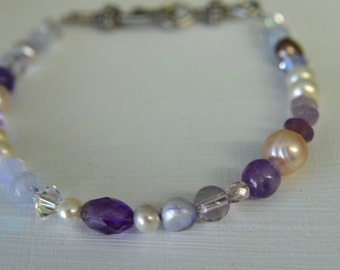 Violet Purple Amethyst Bracelet with Lilac Pearls, Lavender Agate and Swarovski Crystals . Plus Size at 9 inches Long . Handmade in Maine