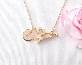 Leo Zodiac Necklace, silver leo necklace, constellation jewelry, star sign necklace,star sign necklace, July and August birthday /SS010