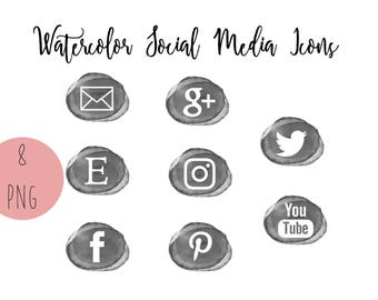 Gray Watercolor Social Media Icons, Set of 8, Blog Buttons, Business Card Icons, Social Media Buttons, Top Selling Item