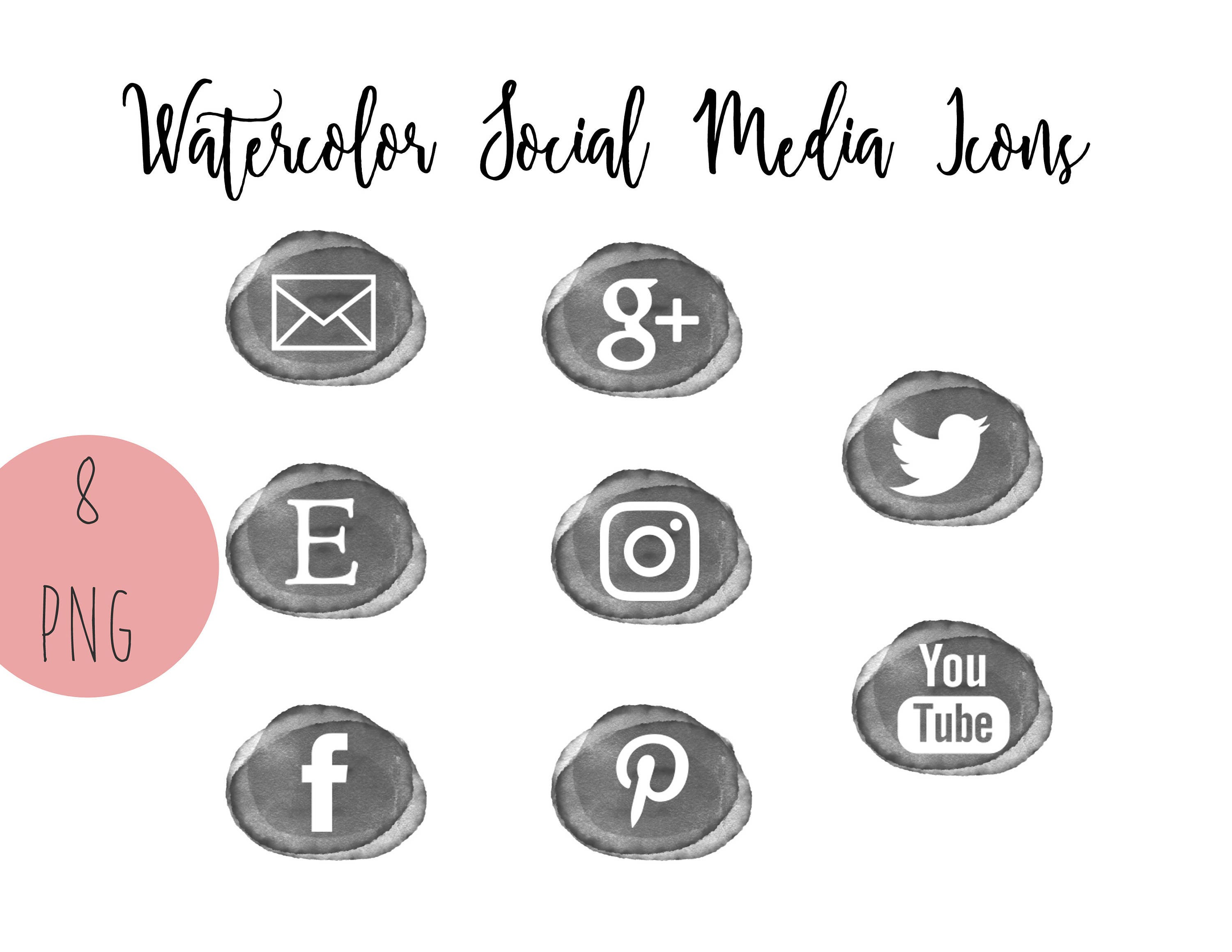 Gray Watercolor Social Media Icons Set of 8 Blog Buttons