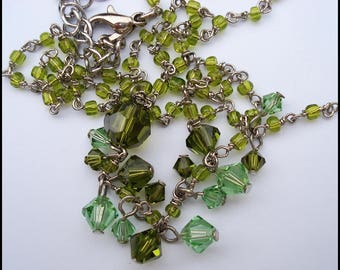 Vintage Peridot and Sea Green Crystal  Sautoir Y Necklace