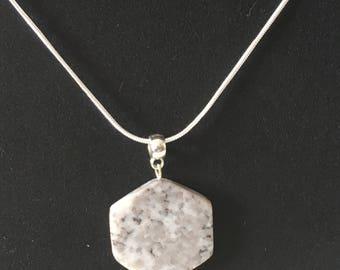 Unique Grey Hexagonal Stone Pendant