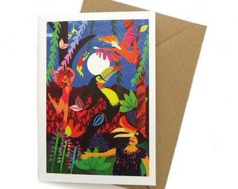 Moon Circus – A6 Greeting Card – Bird Forest Night time - Carnival bird illustration - GC19
