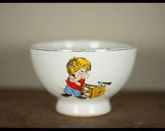 Vintage Bowl, Portuguese, ceramic bowl, old Bowl Loucas da Pat Aradas Aveiro, made in portugal, collection, child, bowl