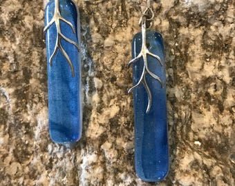Blue Irridized Earrings