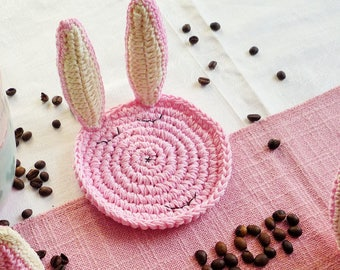 Easter Bunny Coaster Pattern - Rabbit Pattern - Crochet Pattern - Crochet Rabbit - Crochet Coasters - Easter Home Decor DIY - Crochet Bunny