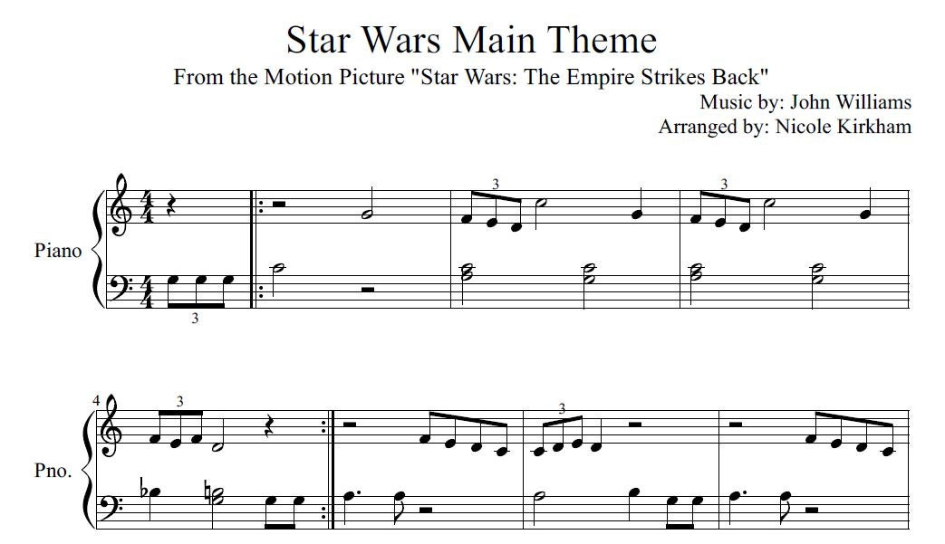 Piano beginning piano sheet music : Star Wars Main Theme Beginner Sheet Music