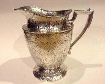 Vintage Hammered Nickel Silver Plated Water Pitcher, Repurpose as a Flower Arrangement Container, Man Cave Golf Ball Keepsake Holder (Used)