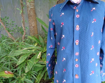 Blue Nautical long sleeve Sakowitz blouse- Pin up - Embroidered anchors Ships wheels - gold orange buttons - M by JeansVintagecloset on Etsy