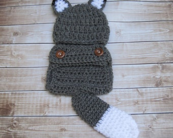 Baby Wolf Costume, Baby Wolf Outfit, Baby Diaper Cover Set, Newborn Wolf Set, Baby Wolf Set, Infant, Baby Outfit, Hat and Diaper Cover, Grey