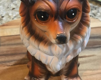 Vintage collie coin bank. Made by best ever in japan. Piggy bank
