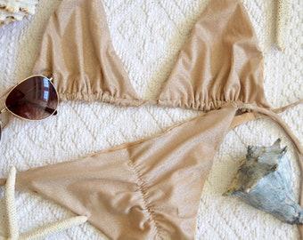 womens swimwear / gold bikini set / nude bikini / scrunch butt bikini / string bikini / triangle bikini / womens bikini / sparkle bikini /
