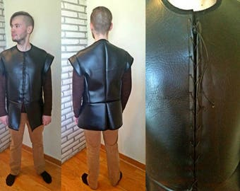 Medieval style faux leather tunic, Jon Snow Game of Thrones Costume, lace up men's tunic