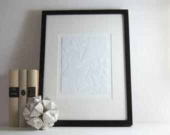 Origami Sketch No3 White Paper Collage - Modern Home Decor - Minimalist Art - Geometric Art - Ivory Paper Anniversary - Fibonacci Number Art