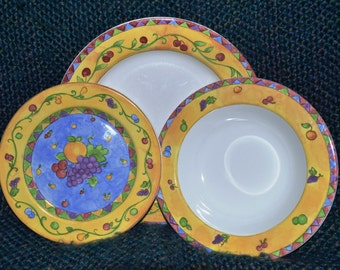 SANGO, CHINA,( 5 Pieces, ) 2 Soups, 2 Salads, 1 Dinner Plate, SANGRIA Pattern, Yellow Rims, Sue Zipkin: Designer, Perfecy Condition