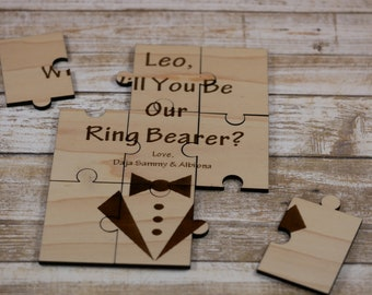 Proposal Wooden puzzle, Will you be my ring bearer,proposal puzzle card, Wooden puzzle, Ring bearer gift, Laser cut