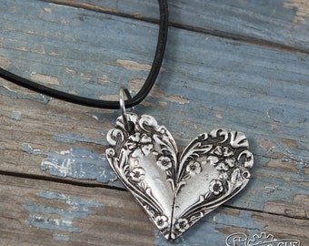 Ornate Spoon Heart Necklace - Flowery Pendant - Inspired by Antique Victorian Silverware - Doctorgus Handmade Pewter Jewelry - Cute Boho