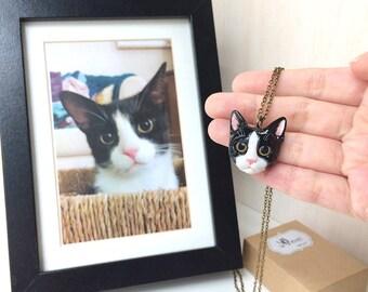 Custom cat portraits necklaces, Custom cat face necklaces, Custom cat necklace, personalized cat, cat sculpture, cat memorial