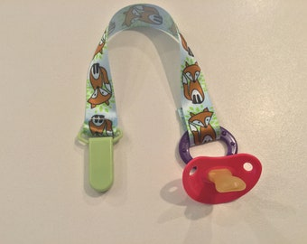 Fox Woven Ribbon Pacifier Clip