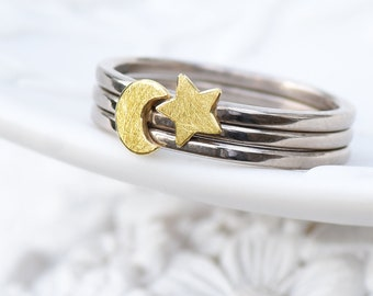 Moon and Star Stacking Ring Set, 18ct Gold